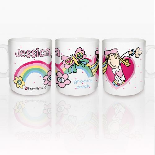 Personalised Bang on the Door Groovy Chick Rainbow Mug